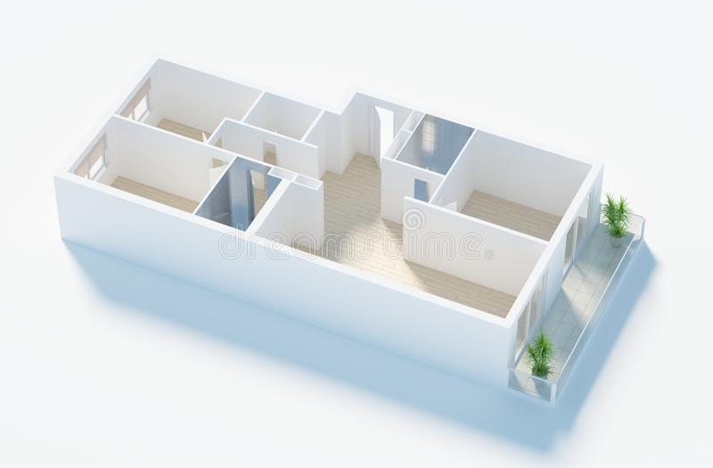 modelo 3d do apartamento home vazio ilustração stock