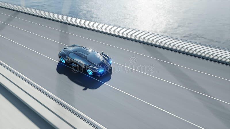 modelo 3d do carro futurista preto na ponte Condu??o muito r?pida Conceito do futuro rendi??o 3d ilustração stock