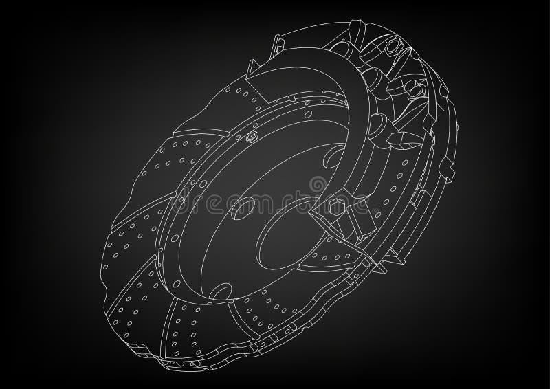modelo 3d do disco do freio ilustração stock