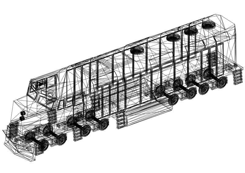 Modelo 3D locomotivo do trem - isolado ilustração royalty free