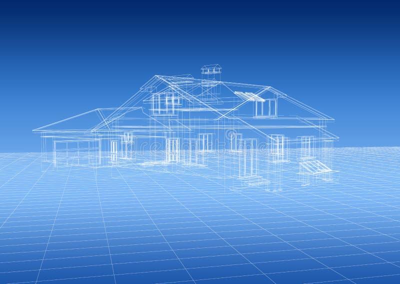 Modelo da arquitetura da casa ilustração royalty free