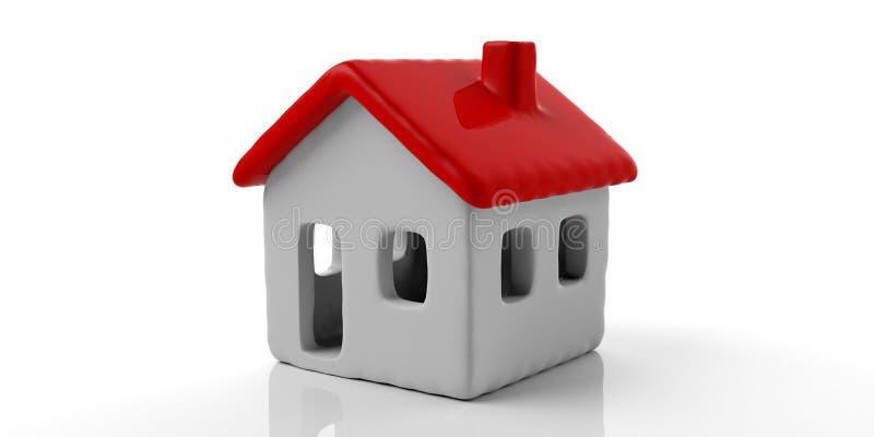Modelo da casa com o telhado vermelho isolado contra o fundo branco ilustração 3D ilustração stock