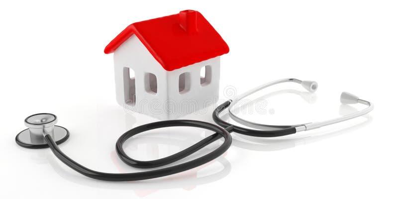 Modelo da casa e estetoscópio médico isolados contra o fundo branco ilustração 3D ilustração royalty free