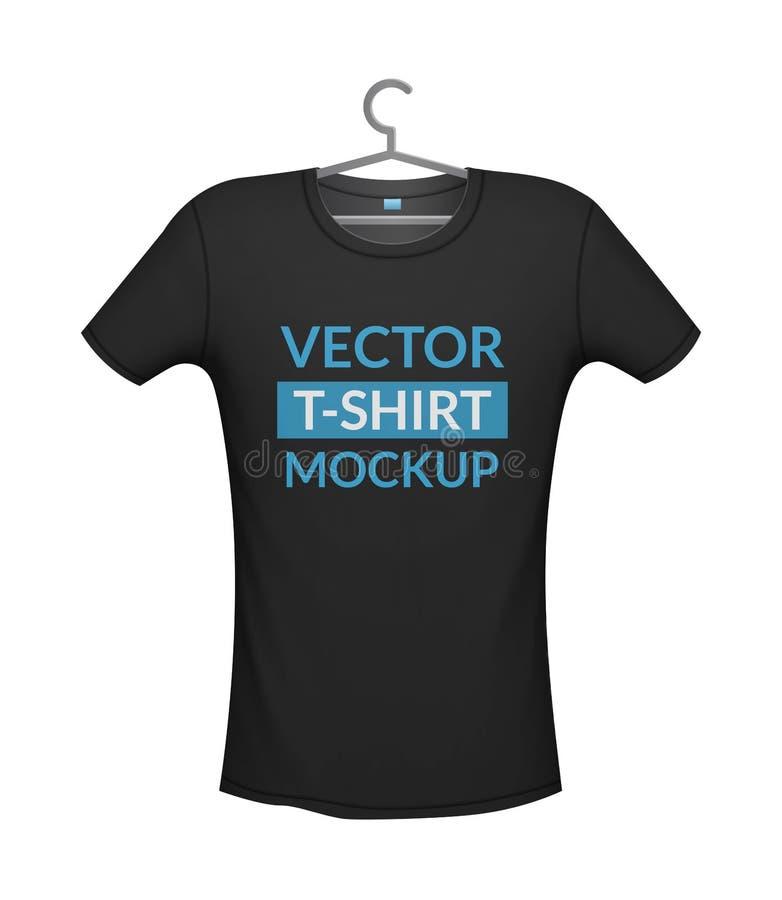 Modelo da cor do preto do t-shirt, ilustração do vetor isolada do fundo ilustração royalty free