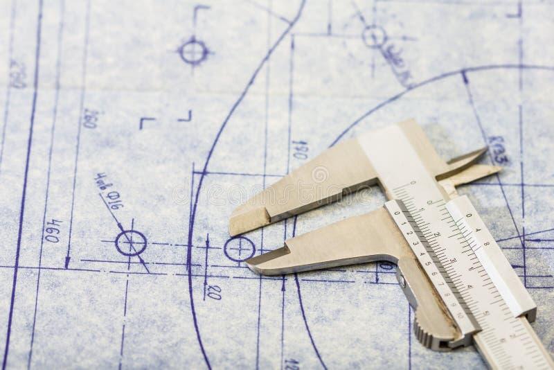 Modelo da engenharia com calibre imagens de stock