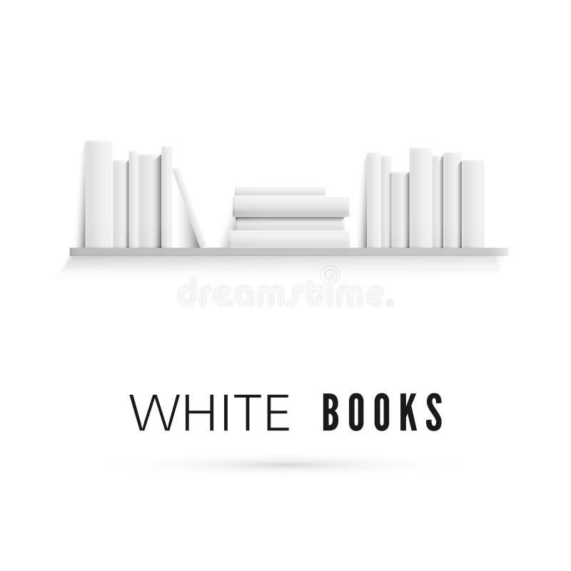 Modelo da estante com os livros brancos vazios na parede Pilha real?stica dos livros de papel Ilustra??o do vetor ilustração stock