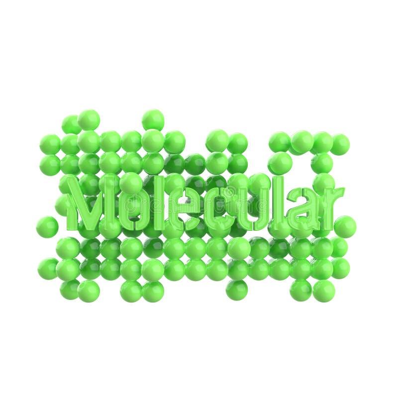 Modelo da estrutura molecular abstrata com rotulação da palavra na cor verde Isolado no fundo branco 3d rendem ilustração do vetor