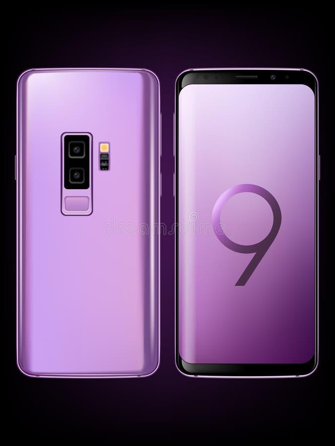 Modelo da galáxia S9+ de Samsung ilustração do vetor