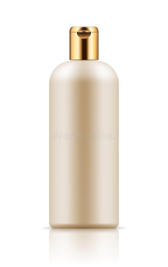 Modelo da garrafa plástica branca ilustração do vetor