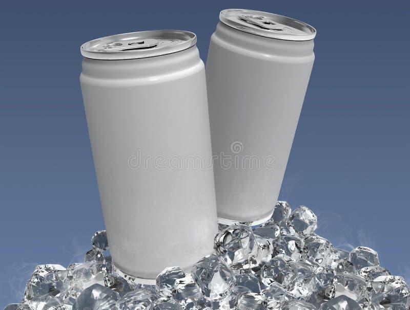 Modelo da lata de alumínio da placa dois e cubo de gelo no fundo claro Pode colocar para seu projeto, ilustra??o 3D ilustração do vetor