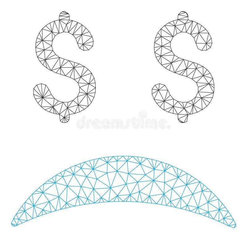 Modelo da malha triste falido do vetor da emoção 2D ilustração royalty free