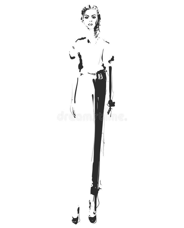 Modelo da menina para o projeto E Gráfico, desenho de esboço Mulher 'sexy' calças ilustração royalty free