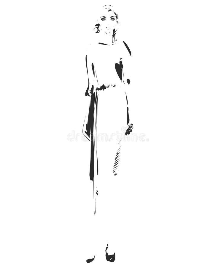 Modelo da menina para o projeto E Gráfico, desenho de esboço Mulher 'sexy' vestido ilustração do vetor