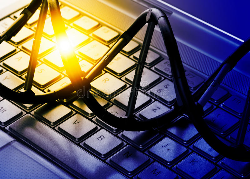 Modelo da molécula do ADN no teclado de computador fotos de stock royalty free
