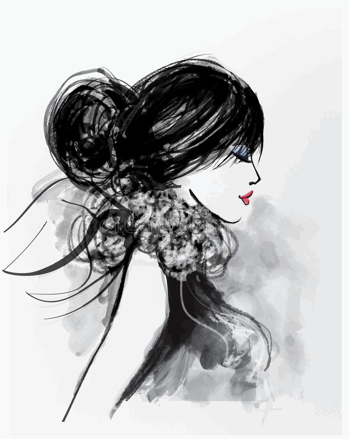 Modelo da mulher da forma com um lenço ilustração royalty free