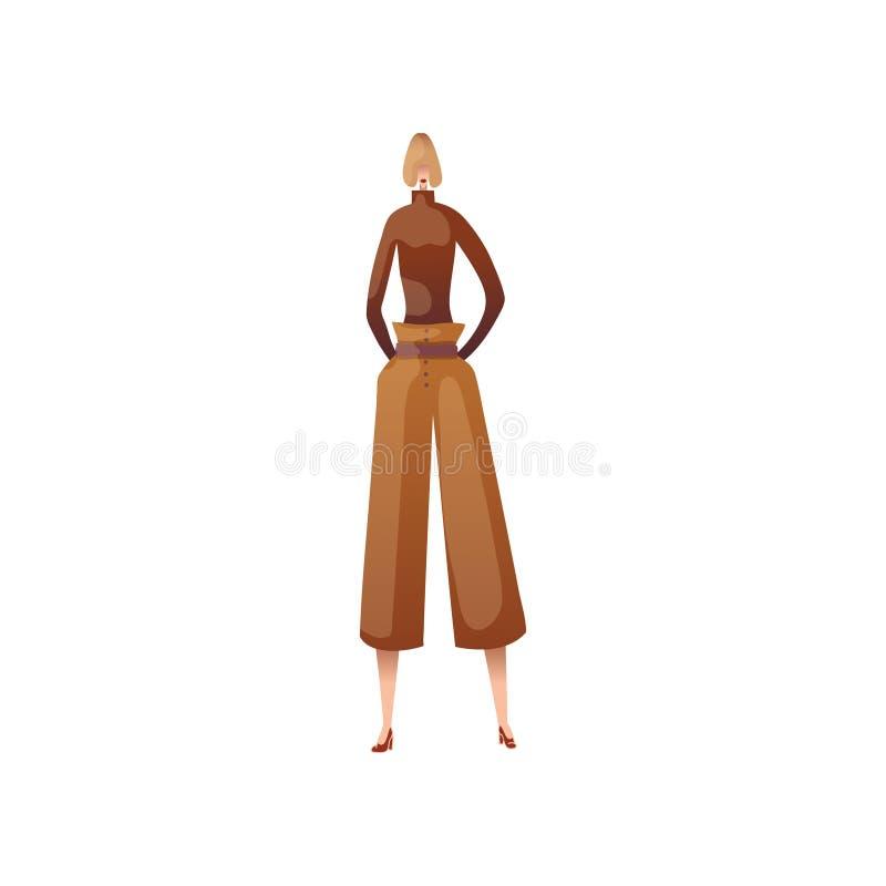 Modelo da mulher na calças e na gola alta Ilustra??o do vetor no fundo branco ilustração stock
