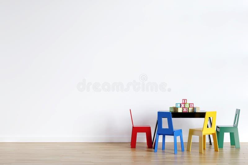 Modelo da parede interior da sala de jogos das crianças - 3d que rende, ilustração 3d ilustração stock