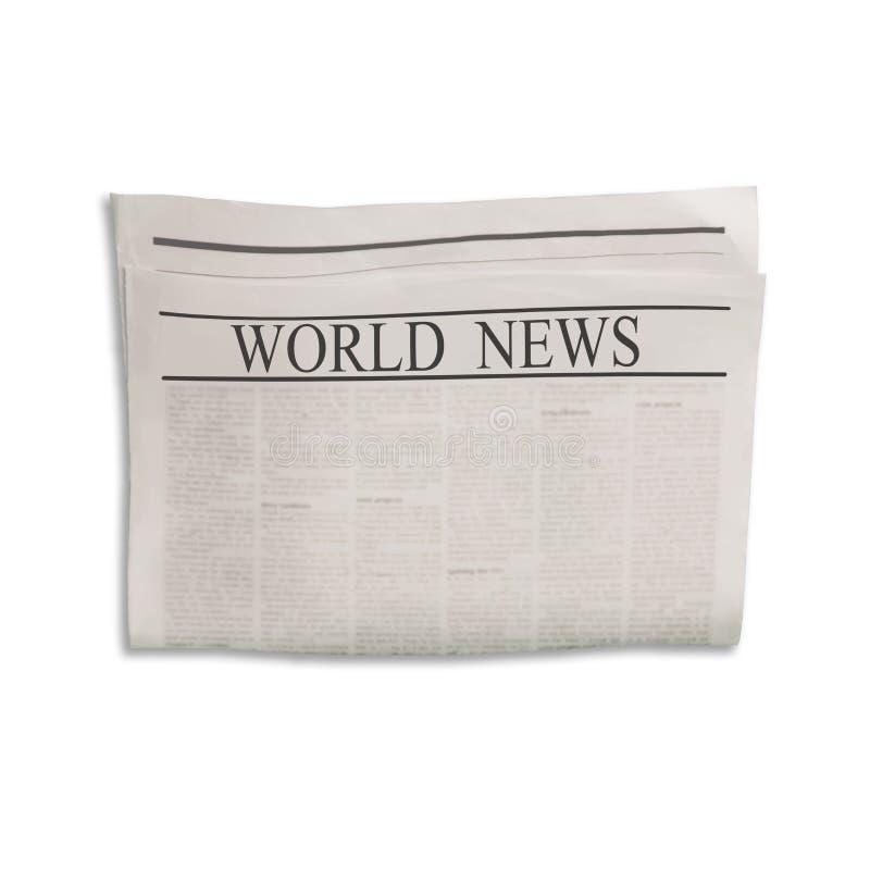 Modelo da placa do jornal das notícias do mundo com texto e imagens ilegíveis ilustração royalty free