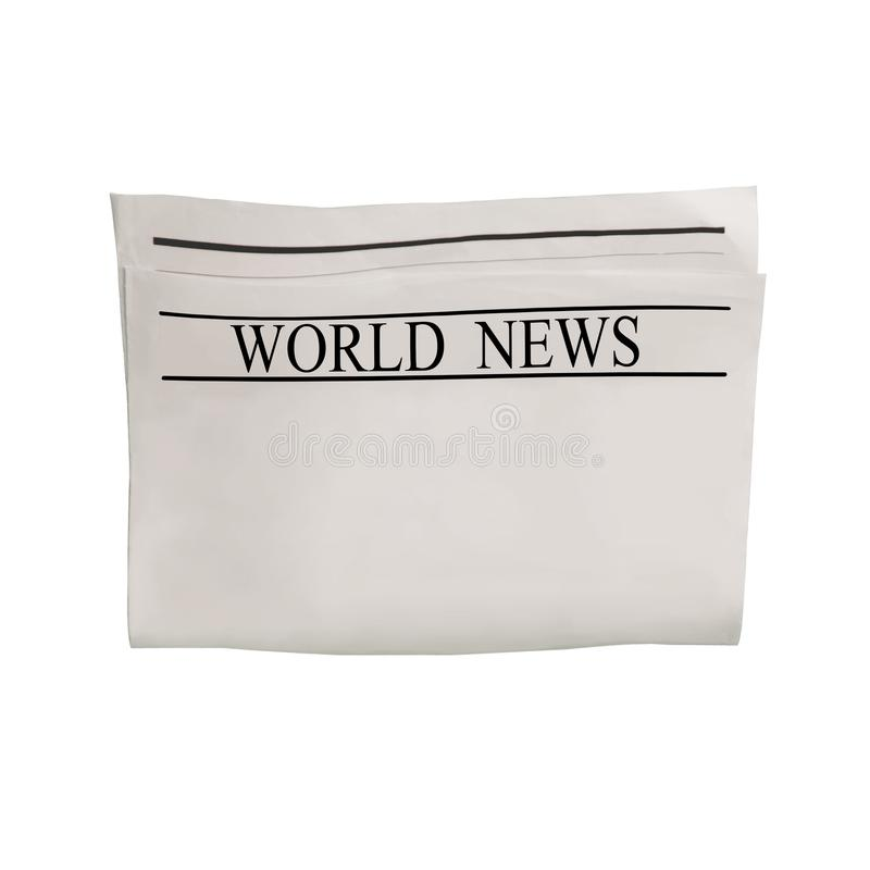 Modelo da placa do jornal das notícias do mundo com texto e imagens ilegíveis fotos de stock royalty free