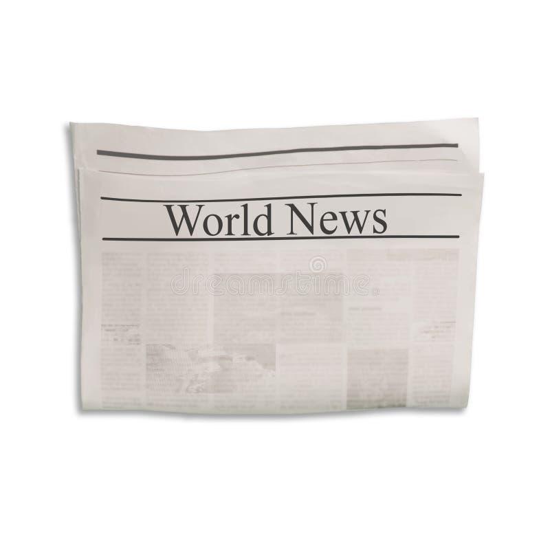 Modelo da placa do jornal das notícias do mundo com texto e imagens ilegíveis fotografia de stock royalty free