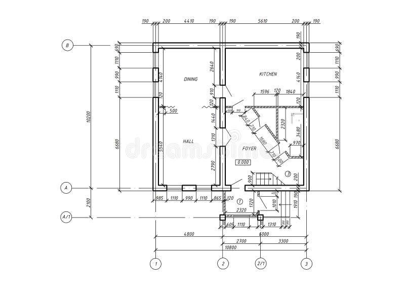 Modelo da planta arquitectónica do CAD ilustração royalty free