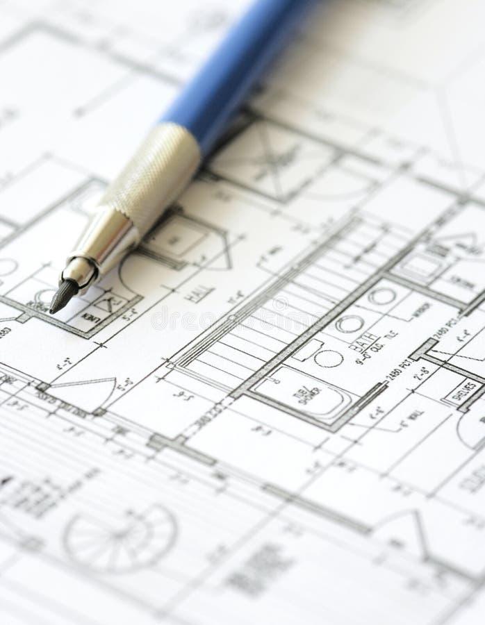 Modelo da planta da casa - projeto do arquiteto imagem de stock royalty free