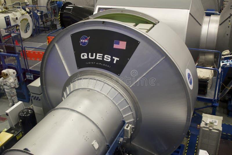 Modelo da PROCURA da estação espacial internacional em NASA Johnson Space C fotos de stock