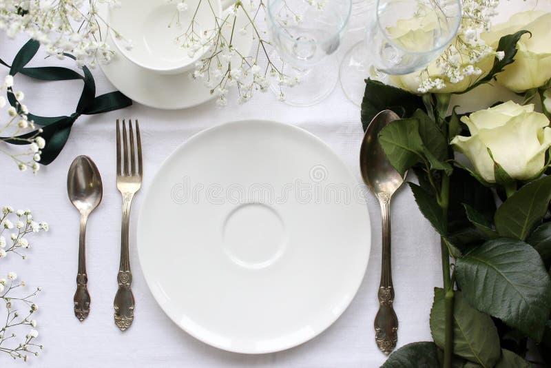 Modelo da tabela do casamento Fotografia da forma do vintage imagens de stock