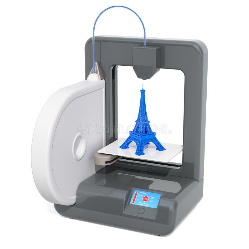 modelo da torre Eiffel da construção da impressora 3d, 3D ilustração royalty free