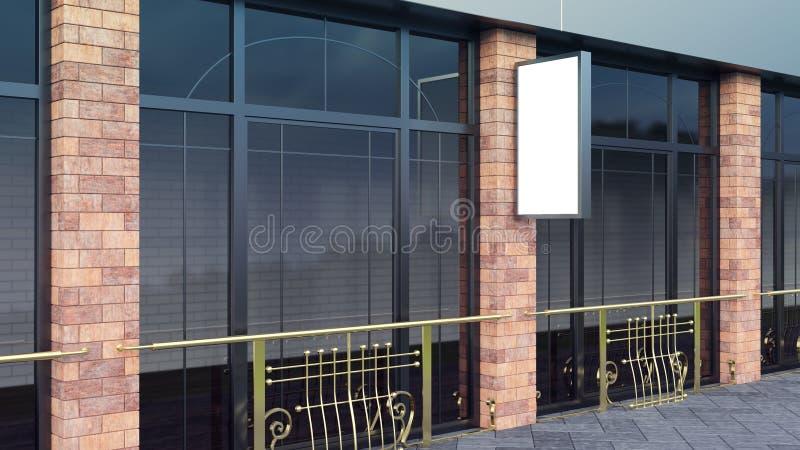 Modelo de aço no quadro de avisos vazio vertical da rua da cidade para a demonstração do projeto 3d para render fotos de stock royalty free