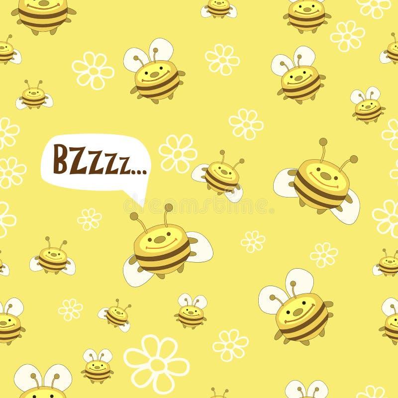Modelo de abejas y de flores stock de ilustración