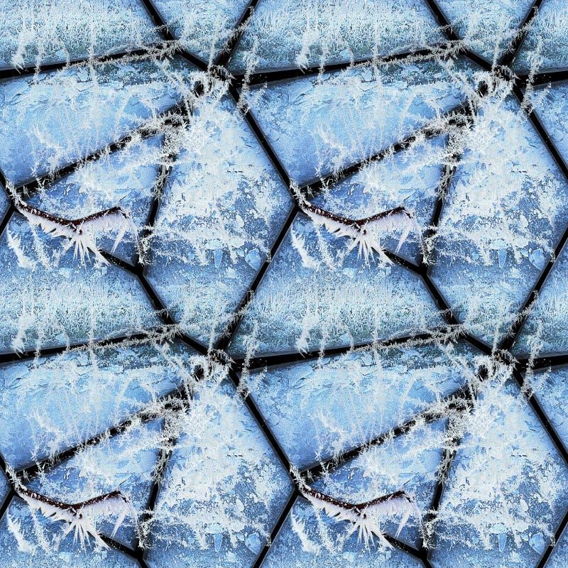 Modelo de alivio inconsútil del invierno de las piedras cubiertas con los cristales de hielo y las ramitas congeladas imagenes de archivo