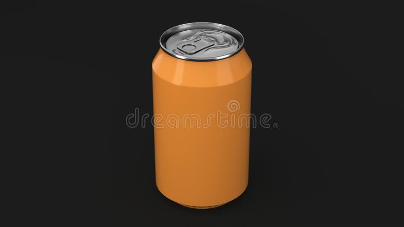 Modelo de alumínio alaranjado pequeno vazio da lata de soda no fundo preto ilustração do vetor