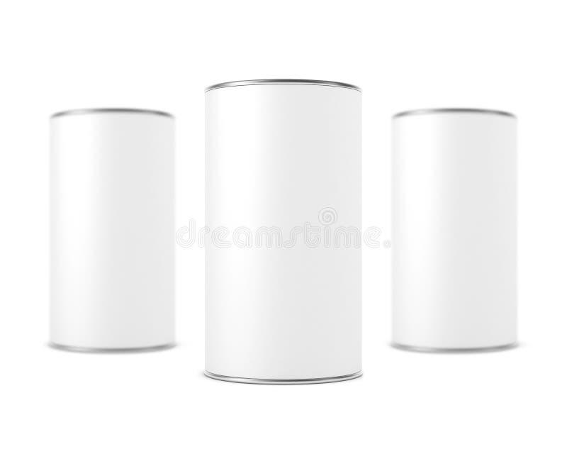 Modelo de alumínio cilíndrico de três caixas Tin Cans no branco ilustração royalty free