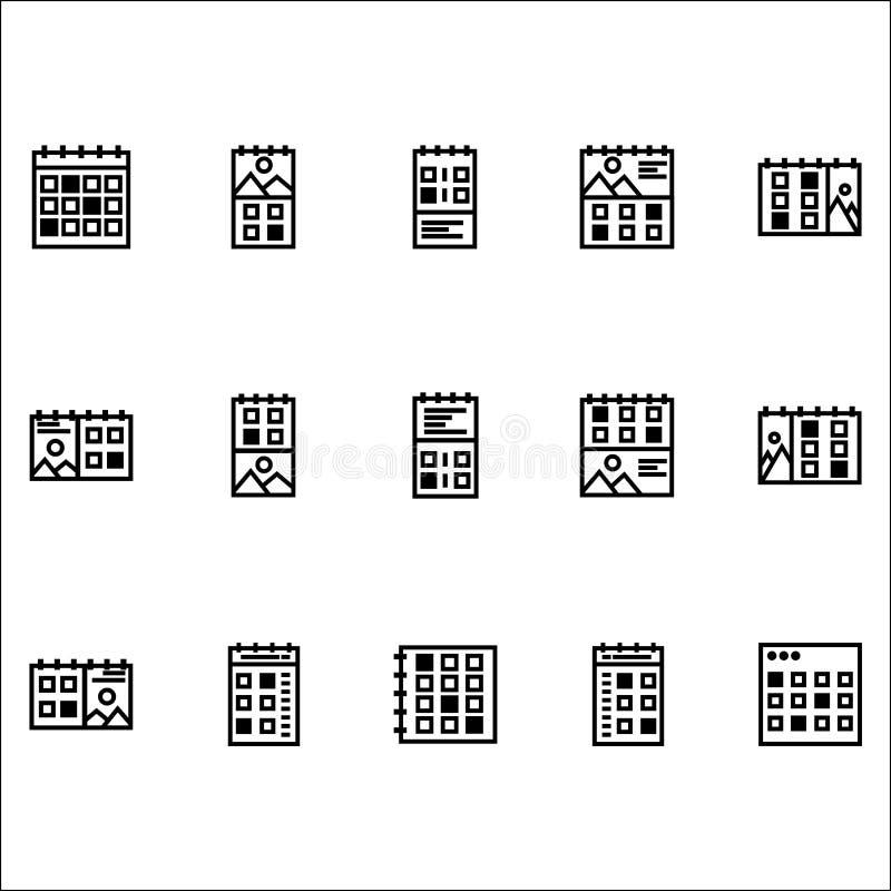 Modelo de apresentação e logotipo do estilo de linha de design do conjunto de ícones do Calender ilustração royalty free