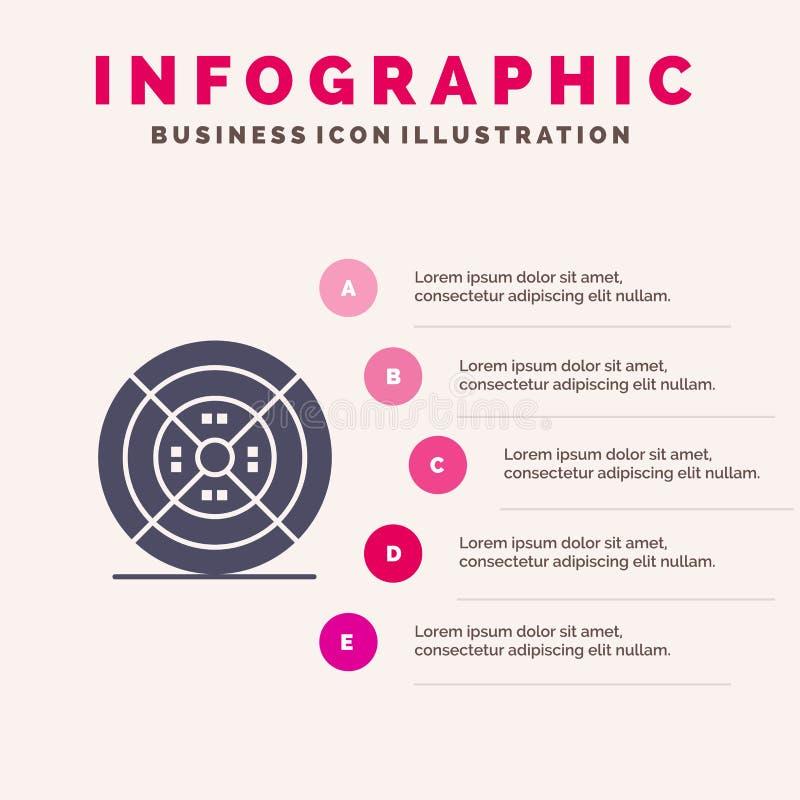 Modelo de Apresentação de Filmes, Filamentos, Impressão, Impressão Infográficos 5 etapas de apresentação ilustração stock