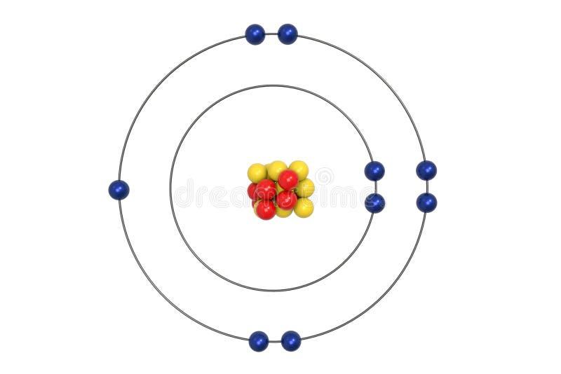 Modelo de Atom Bohr del flúor con el protón, el neutrón y el electrón ilustración del vector
