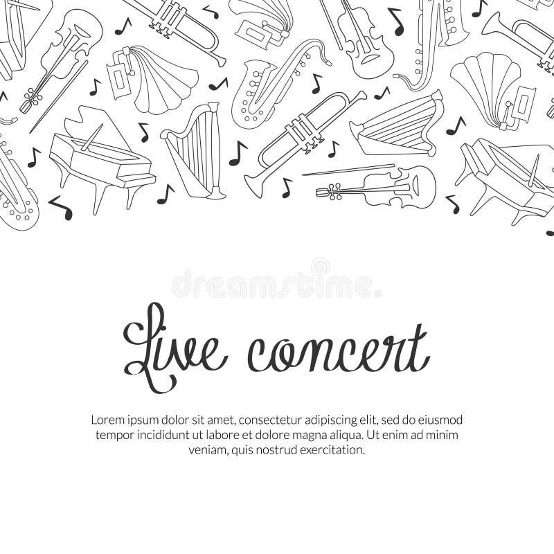 Modelo de Banner Live Concert com Instrumentos Musicais Desenhados à Mão e Espaço para Texto, Vetor Classical Music Festival ilustração stock