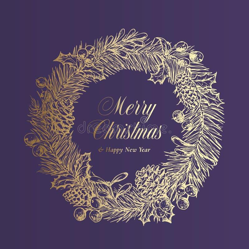 Modelo de Banner de vetor de saudações de Natal Feriado de inverno Símbolo Doodle Sketch Wreath em fundo roxo Xmas ilustração do vetor