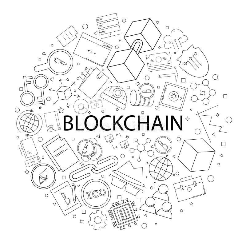 Modelo de Blockchain del vector con palabra Fondo de Blockchain libre illustration