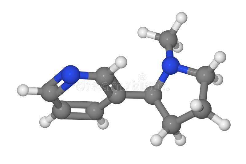 Modelo de bola y de palillo de la molécula de la nicotina libre illustration