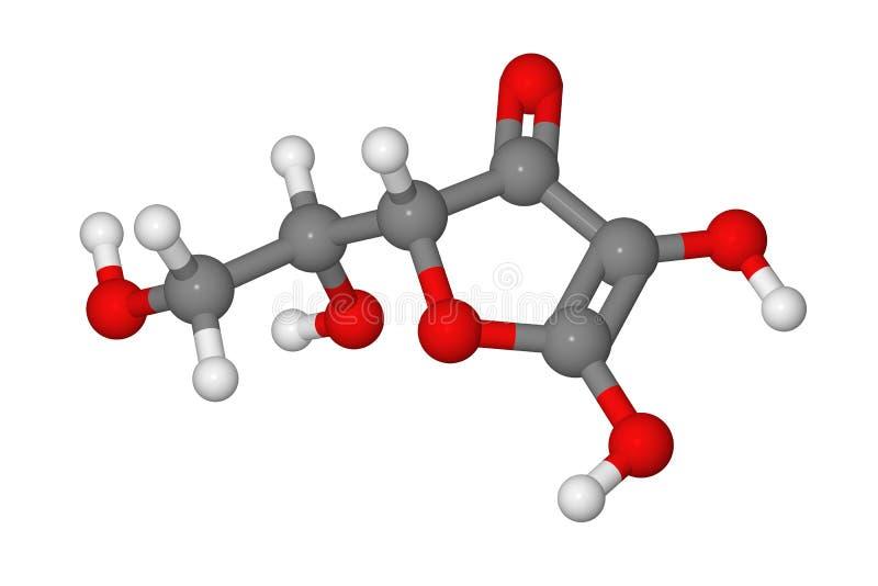Modelo de bola y de palillo de la molécula del ácido ascórbico ilustración del vector
