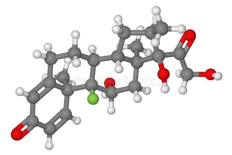 Modelo de bola y de palillo de la molécula del dexamethasone fotos de archivo libres de regalías