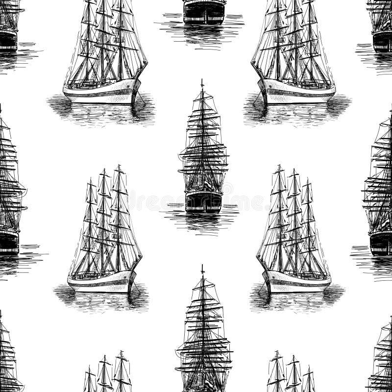 Modelo de bosquejos de los veleros libre illustration