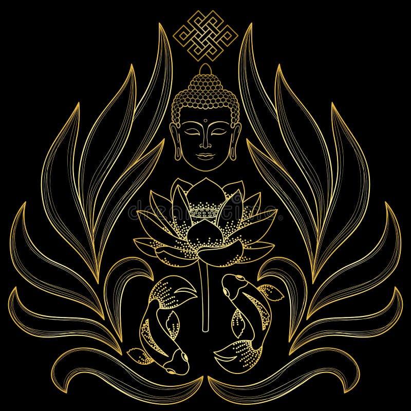 Modelo de Buda del oro stock de ilustración