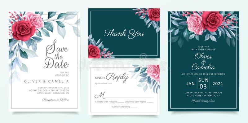 Modelo de cartão de convite de casamento floral com flores e folhas elegantes de aquarela Azul, vermelho, fundo do cartão botânic ilustração royalty free