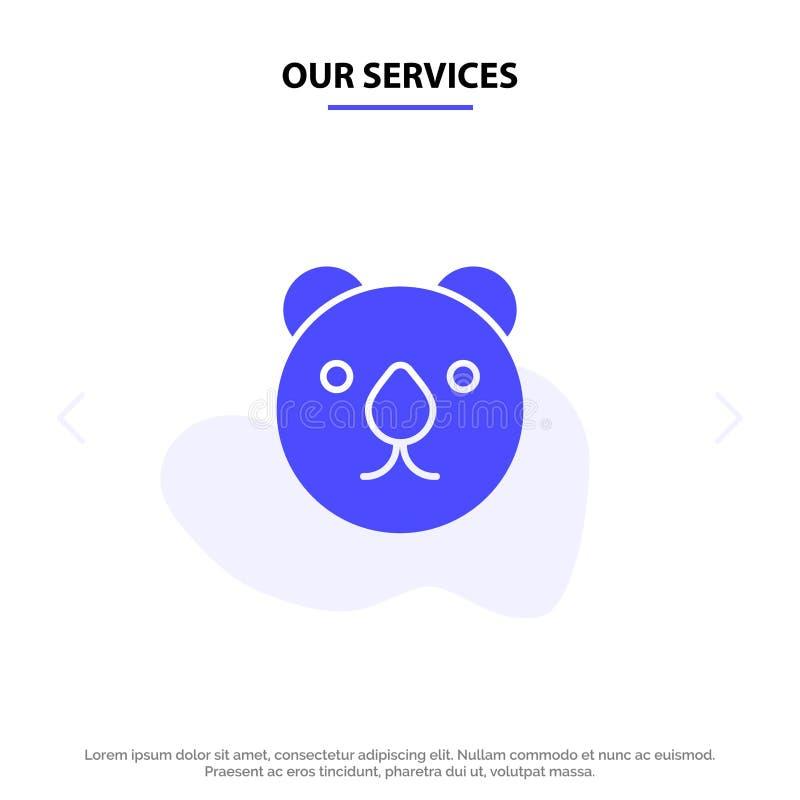 Modelo de Cartão Web de Ícone de Glifo Sólido do Predator, Urso de Serviços, Chefe ilustração royalty free