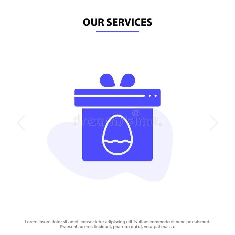 Modelo de Cartão Web do Ícone de Glifo Sólido da Páscoa, Presente de Serviços, Caixa, Ovo ilustração stock