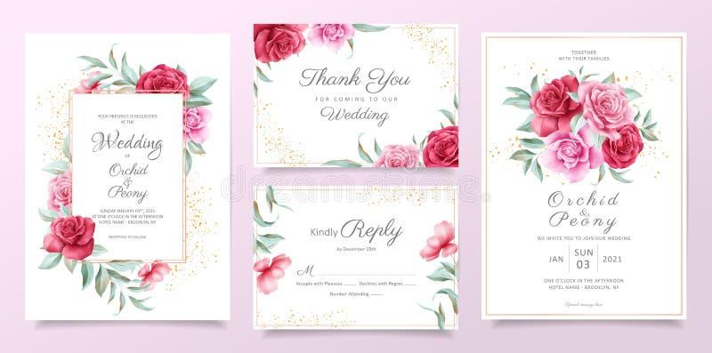 Modelo de carta de convite para casamento com rosas vermelhas e roxas, folhas e decoração dourada Fundo do cartão botânico ilustração royalty free