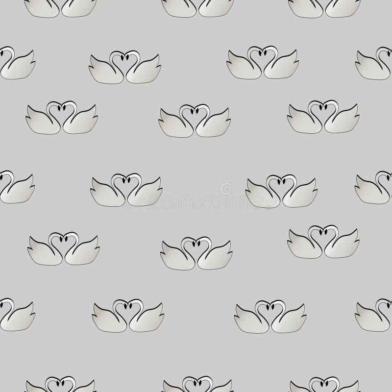 Modelo de cisnes en amor stock de ilustración